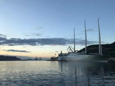 Sailing Yacht A docked for repairs