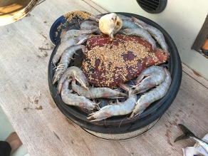 Prawns and tuna for our bbq